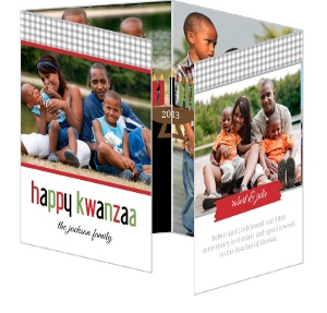 Black And Red Textured Kwanzaa Card And Invite