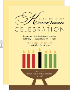 Colorful Candles Yellow Kwanzaa Invitation