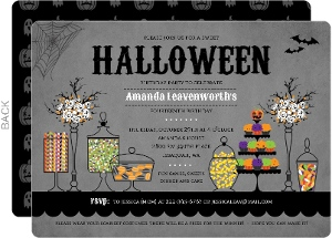 Sweet Candly Station Halloween Birthday Party Invitation