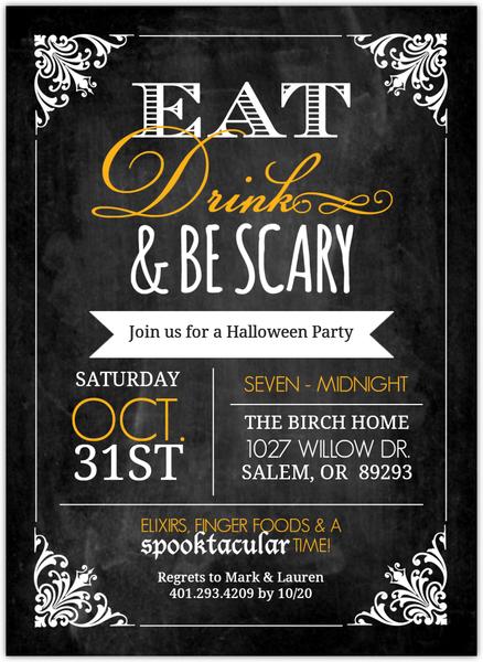 Chalkboard Vintage Frame  Halloween Party Invitation
