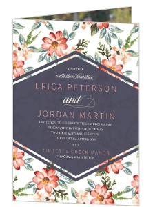 Delicate Watercolor Floral Bifold Wedding Invitation