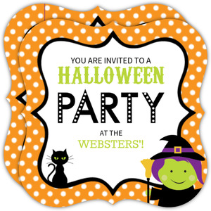 Orange Polka Dot Witch Halloween Party