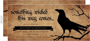 Something Wicked Black Raven Set Halloween Invitation