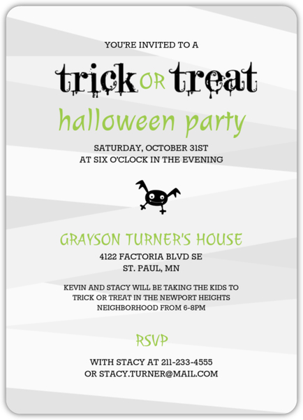 Spooky Mummy Trick or Treating Halloween Party Invitation