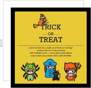 Little Ghouls Trick Or Treat Halloween Party Invitation