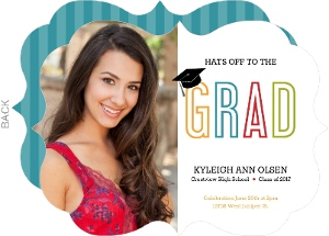 Colorful Grad Cap Graduation Invitation
