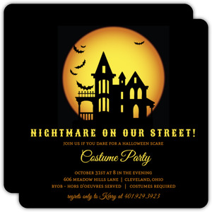 Nightmare On Our Street  Halloween Party Invitation