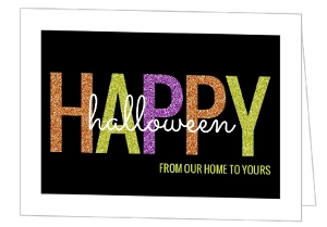 Colorful Glitter Happy Halloween Card
