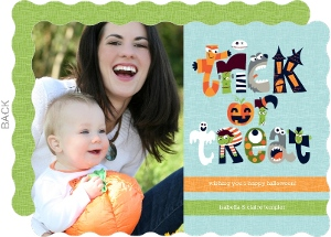 Little Monsters Trick or Treat Photo Halloween Card