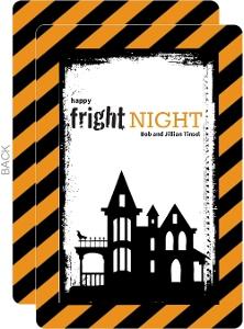 Orange and Black Striped Fright Night Halloween Card
