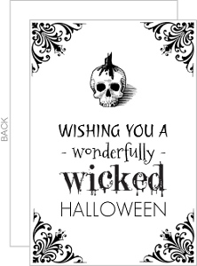 Wonderfully Wicked White and Black  set  Halloween Card