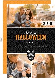 Black Damask Day of the Dead Skull  Halloween Card