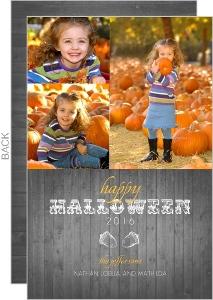 Rustic Woodgrain Photo  set  Halloween Card