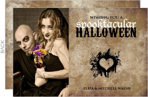 Rustic Heart Photo Halloween Card