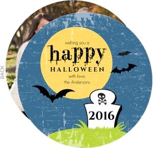 Blue Graveyard Halloween Card