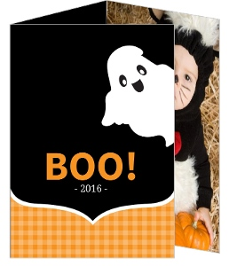 Black and Orange Ghost Halloween Card