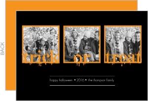 Black Trick or Treat Three Photo Halloween Card