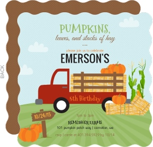 Rustic Red Truck Pumpkin Patch Halloween Birthday Invitation