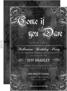 Chalkboard Gothic Grunge Flourish Set Halloween Birthday Invitation
