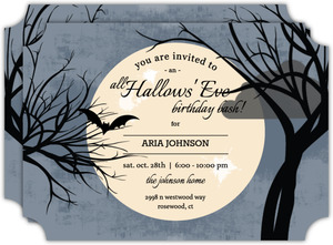 Full Moon Halloween Birthday Invitation
