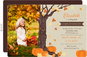 Rustic Tree Leaves And Pumpkin Halloween Birthday Invitation