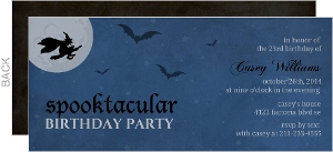 Dark Blue Nightime Spooktacular Birthday Party Invitation