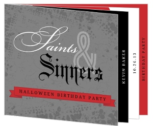 Saints And Sinners Booklet Set Halloween Birthday Invitation