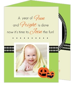 Green And Black 1St Halloween Birthday Party Invitation
