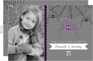 Hanging Spiders Halloween Birthday Invitation