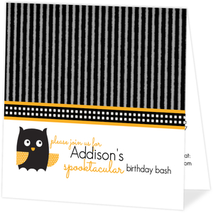 Black and Orange Hooting Owl Halloween Birthday Invitation
