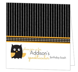 Black And Orange Hooting Owl Halloween Birthday Invitation