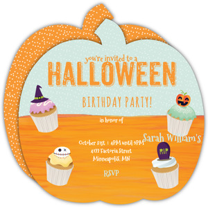 525 x 525 119 ea view details cupcake halloween birthday party invitation - Halloween Birthday