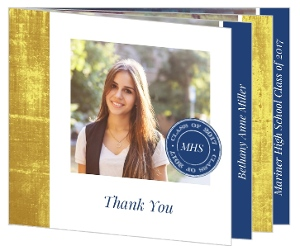 Elegant Faux Foil Monogram Graduation Thank You Card