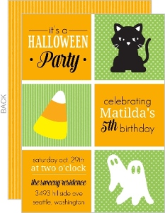 Black Cats And Ghosts Textured Halloween Birthday Party Invitation