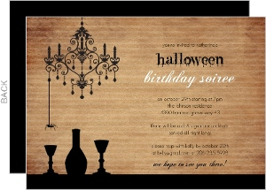 Sophisticated Black Chandelier Halloween Birthday Invitation
