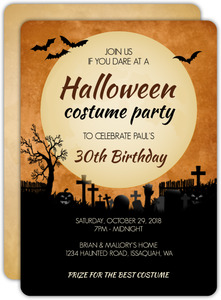 Midnight Graveyard Halloween Birthday Invitation