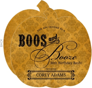 Rustic Orange Damask Booze Halloween Birthday Party Invitation