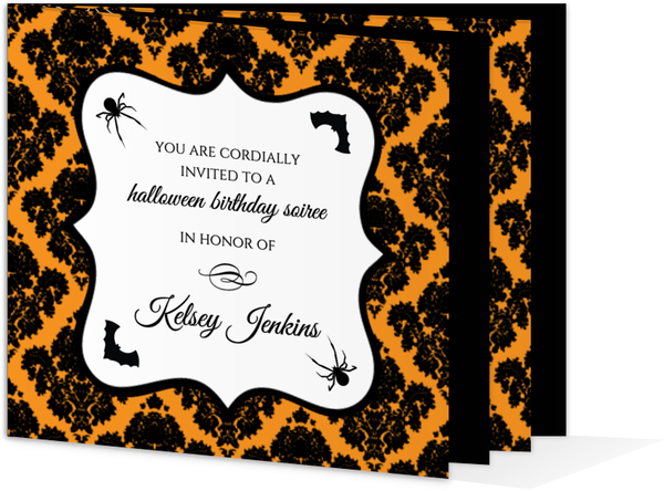 Orange and Black Damask Halloween Birthday Invitation – Damask Birthday Invitations