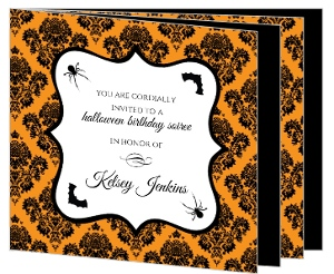 Orange And Black Damask Halloween Birthday Invitation