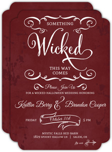 Rustic Red Frame Halloween Wedding Invitation
