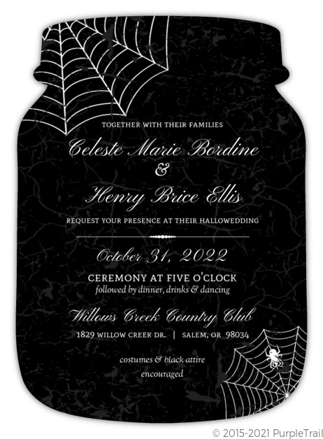 Elegant Spider Web Halloween Wedding Invitation – Elegant Halloween Wedding Invitations