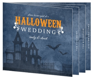 Rustic Blue Haunted House Halloween Wedding Invitation