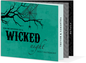 Teal and Black Wicked Night Halloween Wedding Invitation
