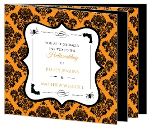 Black And Orange Damask Booklet Halloween Wedding Invitation