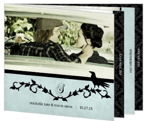 Rustic Black Vines and Crow  Halloween Wedding Invitation