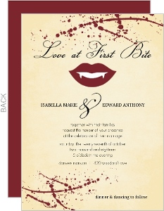 Rustic Love at First Bite Vampire  Halloween Wedding Invitation
