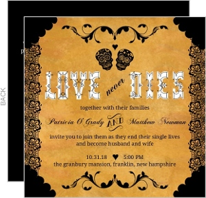 Black Lace and Skulls Halloween Wedding Invitation