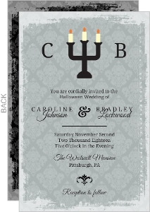 Gray Damask Candelabra  Halloween Wedding