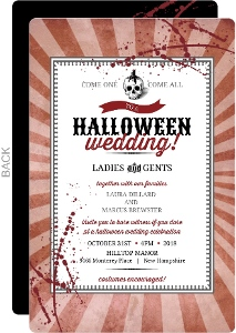 Red Steampunk Skull  Halloween Wedding Invitation