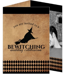 Rustic Black Bewitching  Halloween Wedding invitation